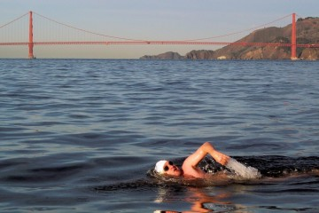 Golden--Gate--Bridge--swimmer--San--Francisco--Bay